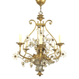 French 1940s Gilded Iron Scroll Design Chandelier by Baguès For Sale