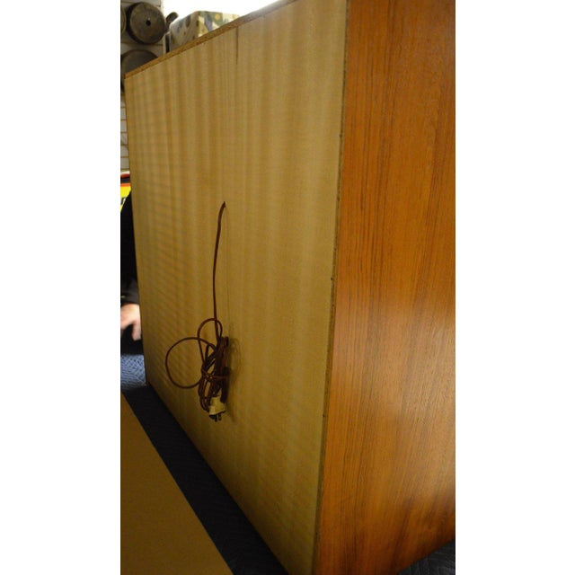 Storage Cabinet, Teak with Glass Doors, Wired for Electronics, Midcentury For Sale - Image 5 of 8