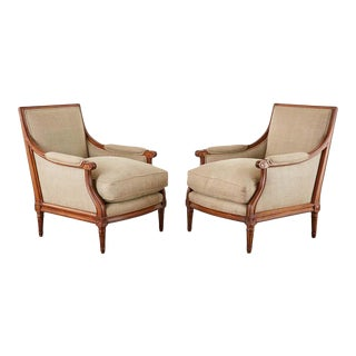 Pair of French Louis XVI Style Mahogany Bergère Armchairs For Sale