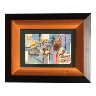 """Original Contemporary Small Stephen Heigh """"Farm Life"""" Abstract Painting """"Farm Life"""" Framed For Sale"""