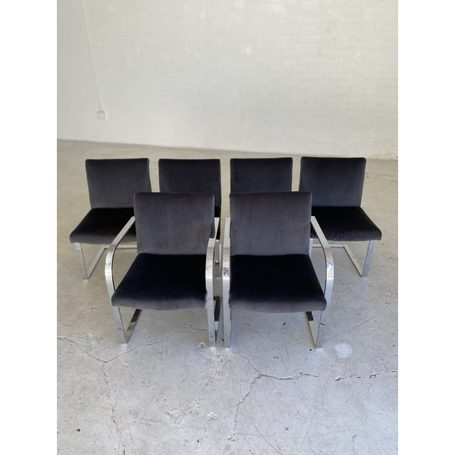 Mid-Century Modern Mid-Century Modern Charcoal Velvet and Chrome Cantilever Chairs - Set of 6 For Sale - Image 3 of 9