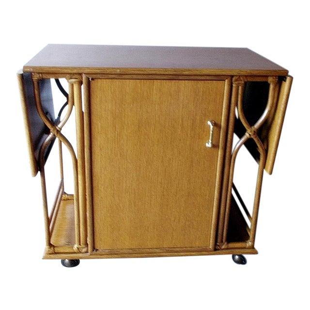 Vintage McGuire Rattan Drop Leaf Dry Bar/Bar Cart For Sale