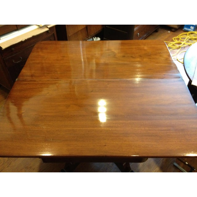 Metal Empire Burl Mahogany Swivel Top Game Table For Sale - Image 7 of 13
