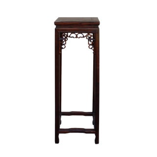 Chinese Oriental Square Brown Stain Plant Stand Pedestal Table