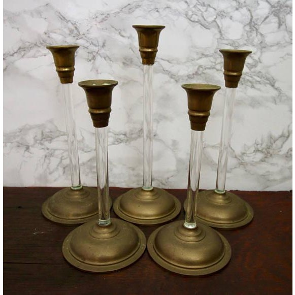 Set of 5 Brass and Acrylic Lucite Graduated Tulip Vintage Candle Stick Holders - Image 3 of 4