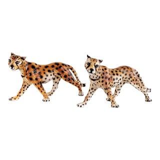1970s Vintage Ceramic Cheetah Leopard Figurines - a Pair For Sale