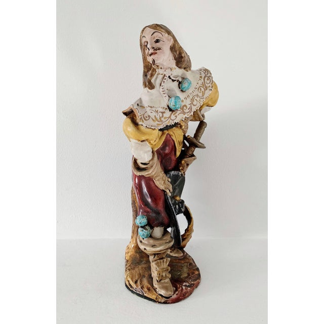 Figurative 1920s Vintage A. Ciolli Italian Glazed Ceramic Musketeer Greeting Signed Sculpture For Sale - Image 3 of 9