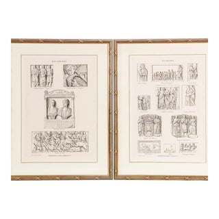 18th C Style Pierre Bouillon Neoclassical Engraving Prints of Roman & Greek Friezes - a Pair For Sale