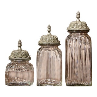 Set of Three Italian Glass Ginger Jars With Carved Silver Paint Lids For Sale