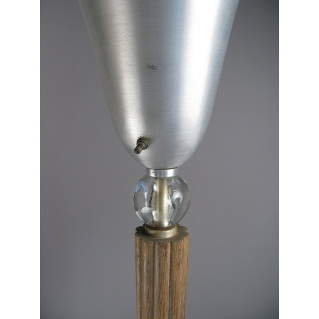 Metal Aluminum & Glass & Cerrused Oak Torchiere Floor Lamp by Russell Wright For Sale - Image 7 of 8