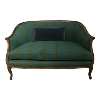 Muriel Brandolini Peacock and Jade Vintage Sofa For Sale