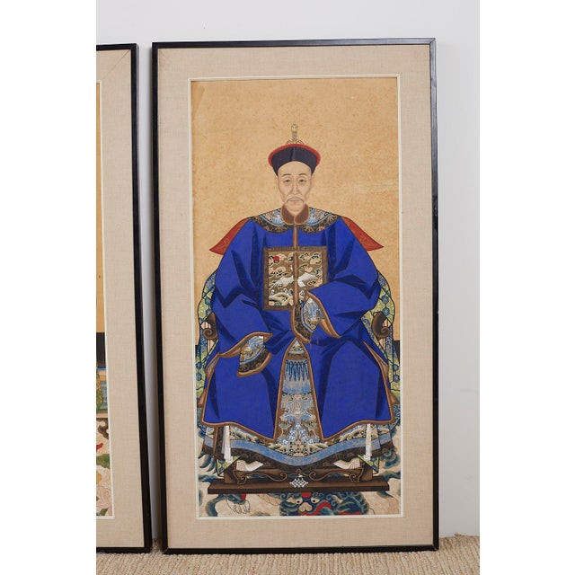 Mid 20th Century Pair of Chinese Patriarch Matriarch Ancestral Portraits For Sale - Image 5 of 13
