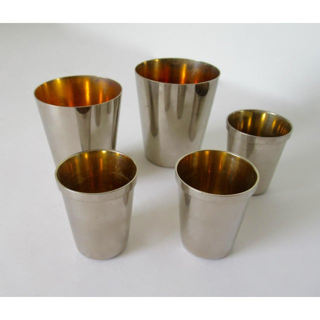 Gold Vintage German Gentleman's Silver Plate & Gold Lined Traveling Cordial Cups - 5 Pieces For Sale - Image 7 of 13