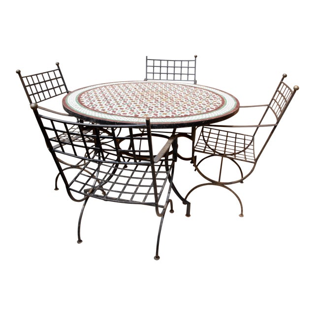 """Moroccan Zellij Red, Green, Yellow and White Mosaic Tile 52"""" Round Table & 4 Wrought Iron Arm Chairs For Sale"""