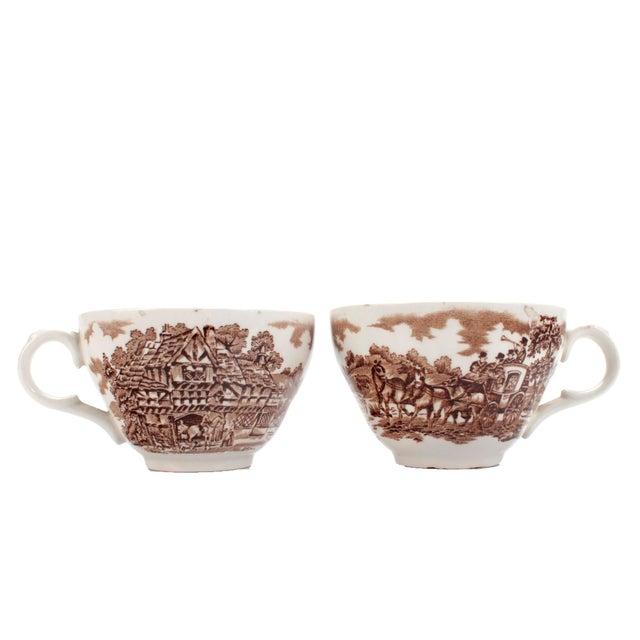 """Set of 5 cups & saucers by Franciscan in their brown transferware pattern """"Coaching Days,"""" made in England and..."""