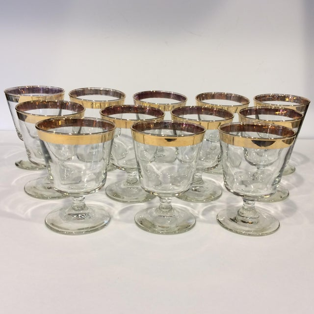 Mid-Century Gold Rim Rocks Cocktail Glasses - Set of 12 - Image 2 of 11