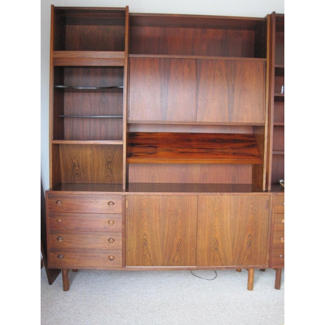 Danish Modern Rosewood Shelving Unit With Bar - Image 2 of 9