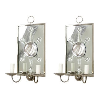 Andre Hayat Rock Cristal Siver Framed Pair of Mirror Sconces For Sale