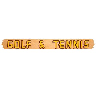 American Mid-Century Wooden Sign: Golf & Tennis