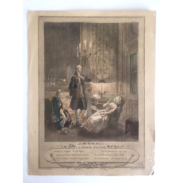 """Rare Antique 1774 Freudenberger """" La Soiree D' Hyver """" Hand Painted French Engraving Art Print For Sale - Image 11 of 11"""