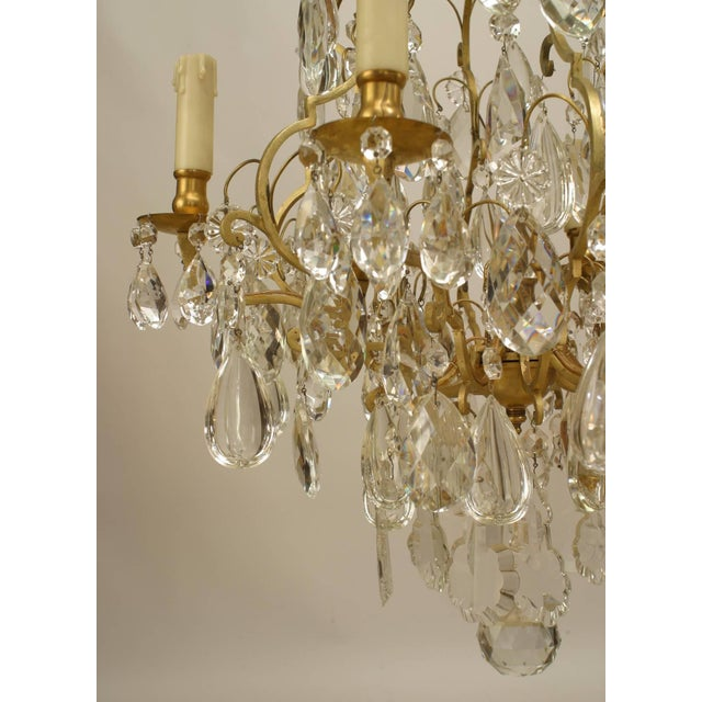 19th Century French Louis XV Style Bronze and Crystal Chandelier For Sale - Image 4 of 5
