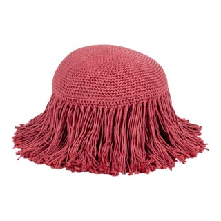 Dusty Rose Pink Mini Circular Fringed Pillow For Sale