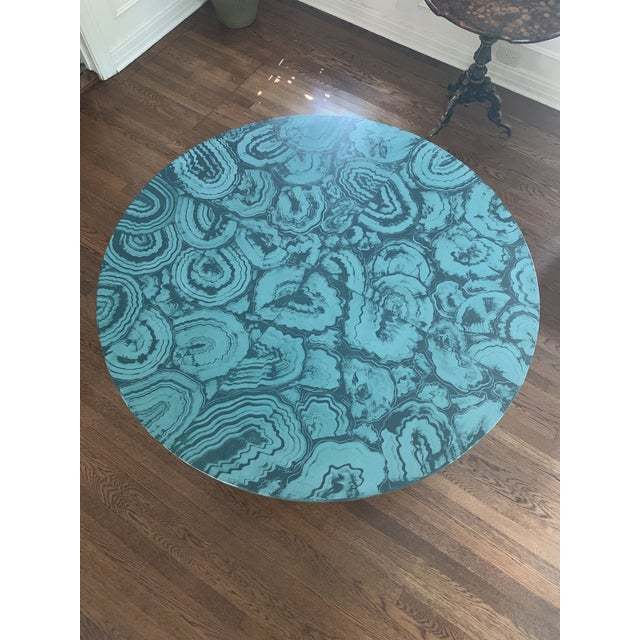 2010s Faux Malachite Hand Painted Table Top For Sale - Image 5 of 6