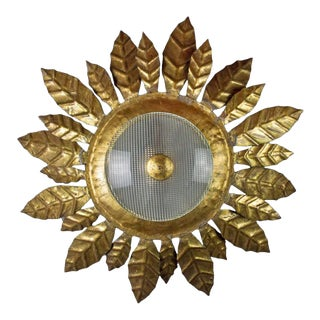 Gilt Metal and Textured Glass Flush Mounted Sunburst Ceiling Fixture For Sale