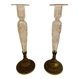 Collectible Pairpoint Cut Crystal and Bronze Candlesticks -A Pair For Sale