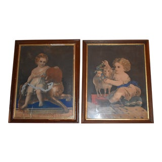 19th Century Antique Henry Schile Hand-Painted Lithographs - a Pair For Sale