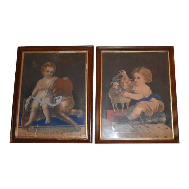 19th Century Antique Henry Schile Hand-Painted Lithographs, Painting Is Watercolor - a Pair For Sale