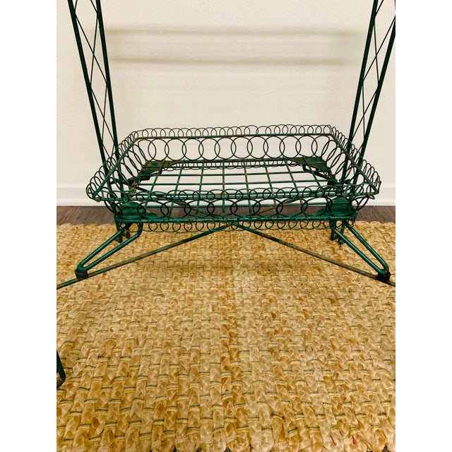Late 20th Century Victorian Iron Scroll Garden Patio Table With Tray Plant Stand Bar Cart For Sale - Image 5 of 13