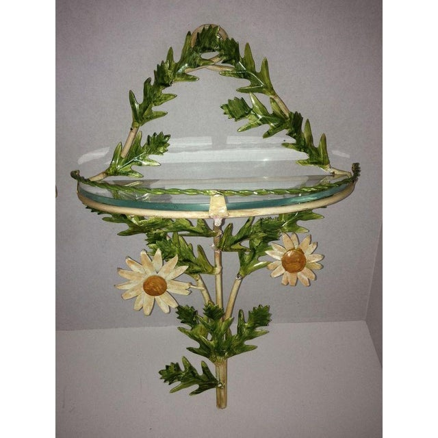 Tole Daisy Sconce Wall Shelves - Pair - Image 2 of 5