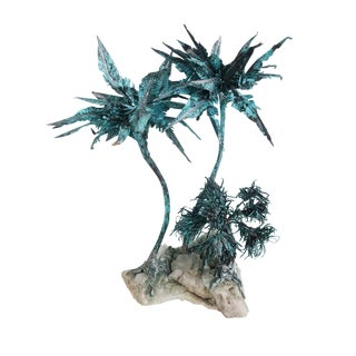 Mid-Century Modern Copper Spiky Plant Sculpture For Sale