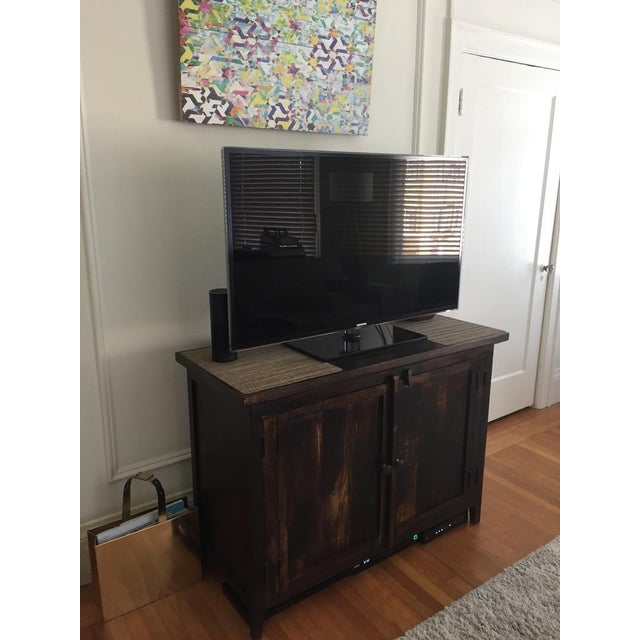 Brown Shabby Chic Wooden Storage Cabinet For Sale - Image 8 of 10