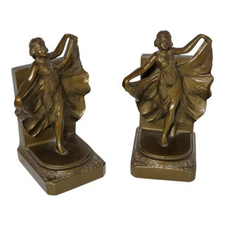 1920s Vintage Art Deco Metal Dancing Girl Bookends - A Pair For Sale