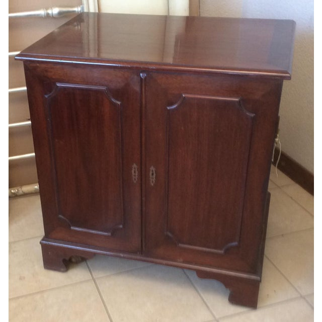 Brown Classic Mahogany Two Door Cabinet With Handles For Sale - Image 8 of 10