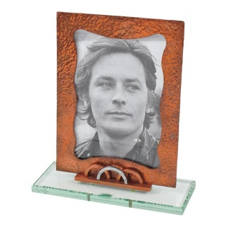 French 1940s Copper and Glass Picture Frame For Sale
