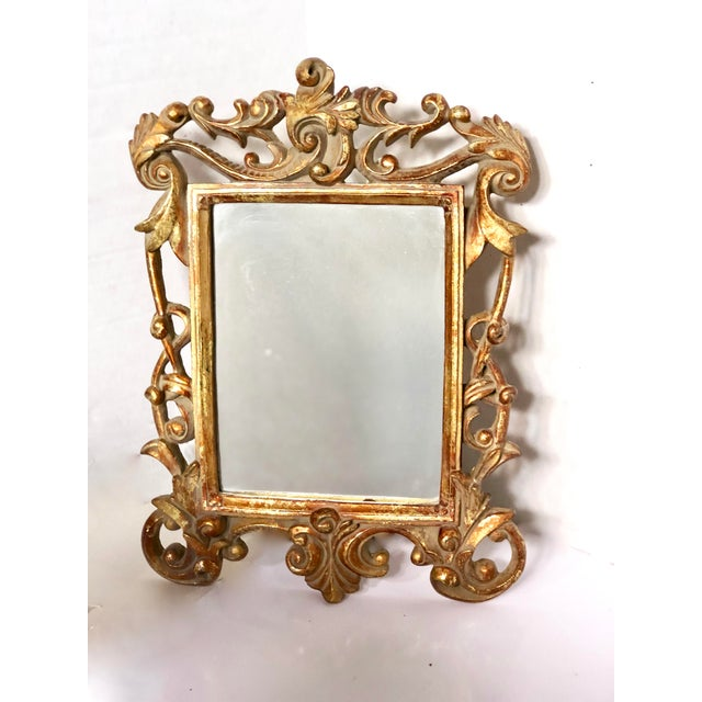 1970s Italian Baroque Gold Gilt Mirror For Sale - Image 5 of 5