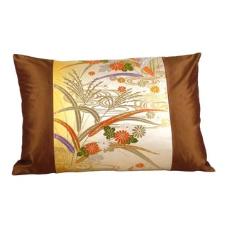 Japanese Autumn Streamside Floral Silk Obi Pillow Cover For Sale