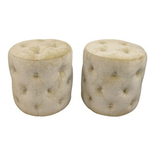 Modern Mitchell Gold + Bob Williams Circular Tufted Ottomans or Stools - A Pair For Sale