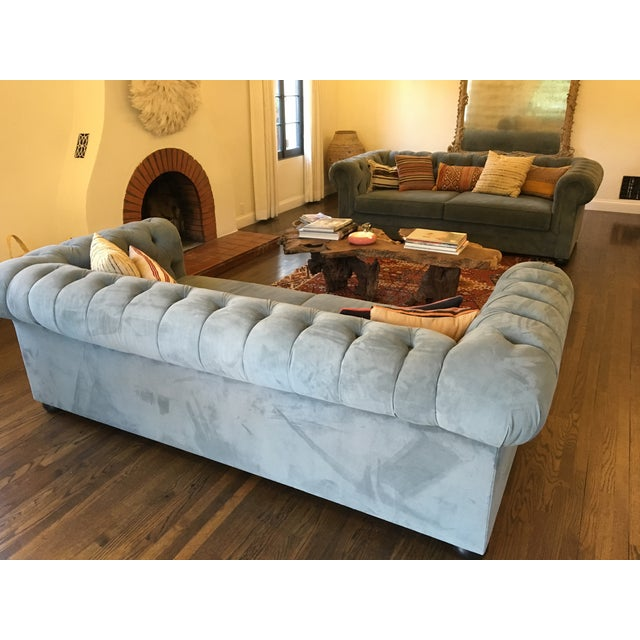 Blue Chesterfield Sofas - A Pair - Image 7 of 8