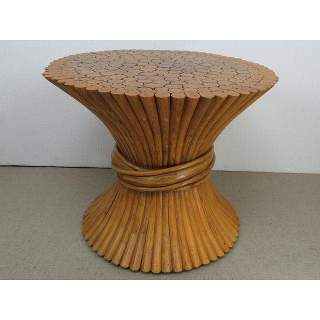 McGuire Vintage Hollywood Regency Bamboo Rattan Sheaf of Wheat McGuire Side Table For Sale - Image 4 of 12