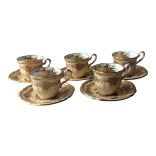 Antique Spode for Tiffany Gilt Demitasse Cups and Saucers - Service for 5 For Sale