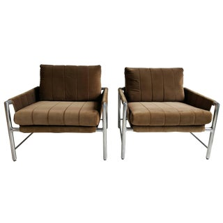 Founders Extruded Aluminum and Velvet Sling Lounge Chairs - a Pair For Sale