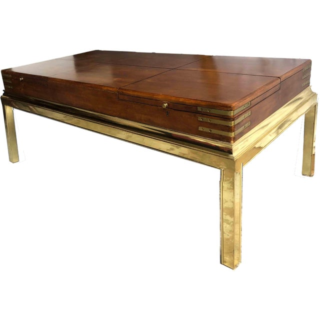 Campaign Brass & Cubby Cocktail Table by Stanley Furniture For Sale - Image 9 of 10