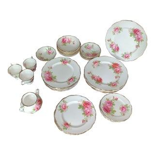 Vintage Royal Albert American Beauty White With Pink Flowers Crown China England - Reduced 42 Pieces For Sale