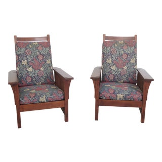 Stickley Arts & Crafts Mission Cherry Morris Chairs- A Pair For Sale