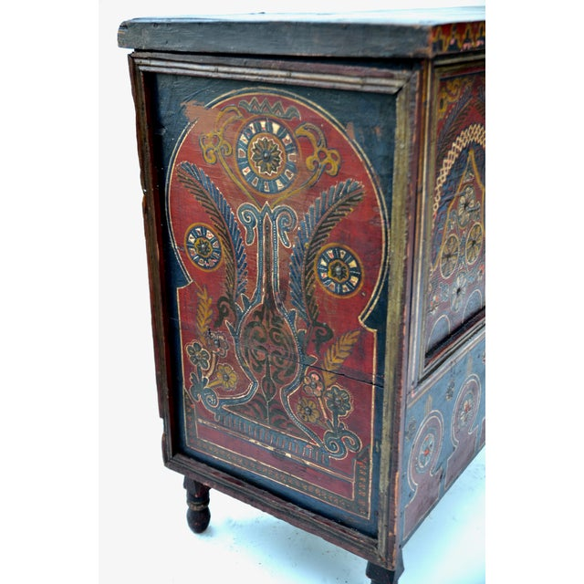 Metal Moroccan Polychrome Wedding Chest 1940s For Sale - Image 7 of 12