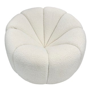 Off White Boucle Modern Channeled Chair For Sale